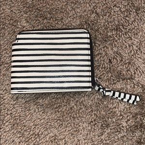 black and white striped wallet